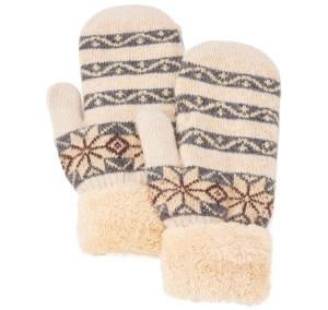 Cream Women's fair isle mittens