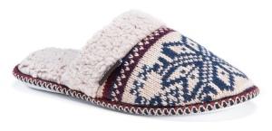Womens Fair Isle muk Luks knit scuff slide slippers