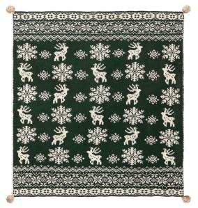 Lodge Fair isle Pom Pom throw blanket with reindeer motif