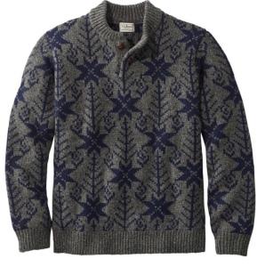 Men's Classic Fair Isle Wool Henley Sweater