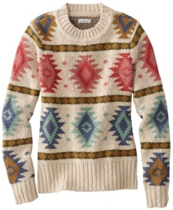 Womens  Beige Fair Isle Sweater with Blue and Red Diamond Design